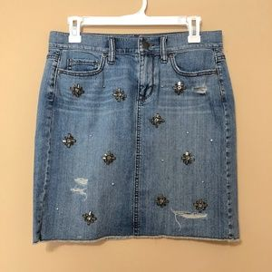 Ann Taylor LOFT Jeweled Denim Skirt Distressed 2